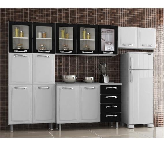 Cozinha Compacta 4 Peças 13 Portas 5 De Vidro Com Ha