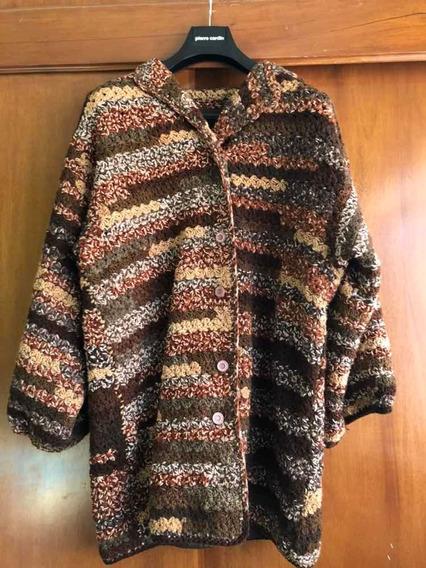 Cardigan Saco Tejido A Crochet, Forrado En Color Cafe