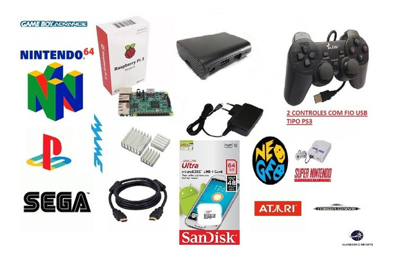 Mini Super Nintendo Raspberry Pi3 64gb 2 Controles Com Fio