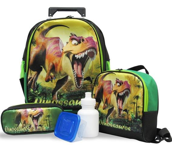 Kit Escolar Infantil Mochila Rodinhas Dinossauro Tamanho G