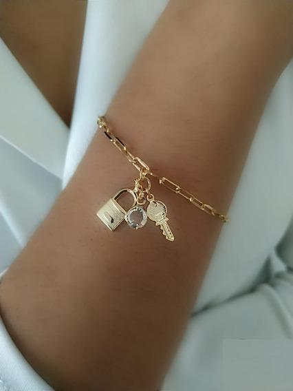 Pulseira Chave, Cadeado, Tiffany Banhado A Ouro 18k