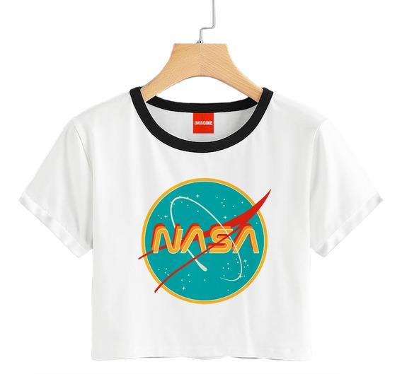 Blusa Dama Nasa Astronauta Espacio Colores Playera Crop #664