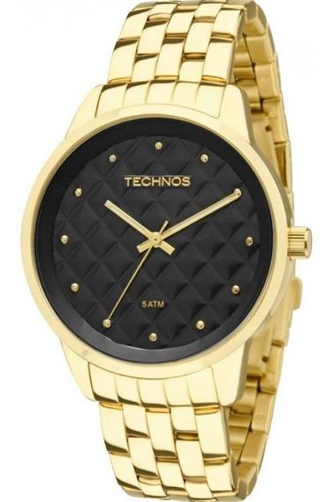 Relógio Technos Feminino Dourado Fundo Matelassê 2035lwm/4p