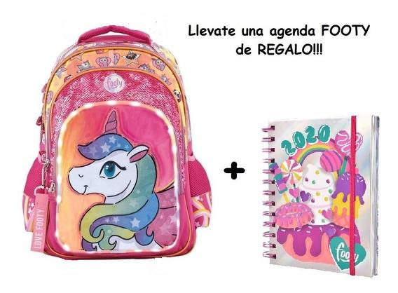 Mochila Footy Unicornio Luz Led Lentejuelas 18p Fty Calzados