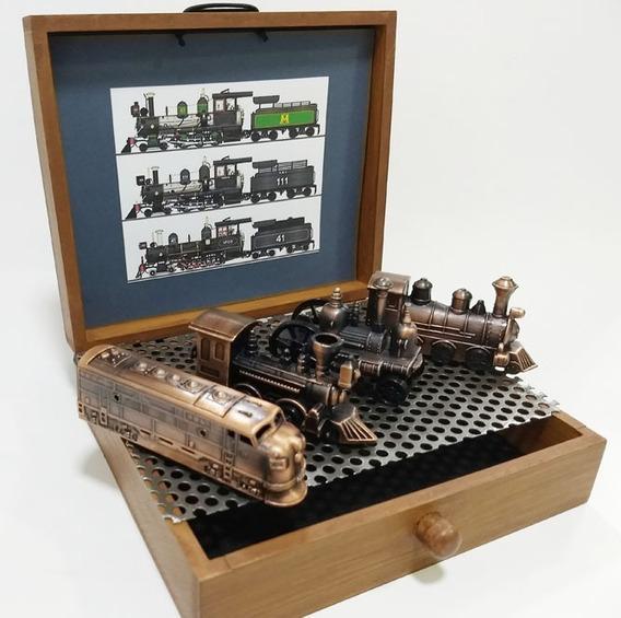 Conjunto De 4 Miniaturas Decorativa De Locomotivas Em Metal