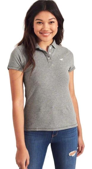 Camiseta Camisa Polo Hollister Feminina Cinza Hco Original