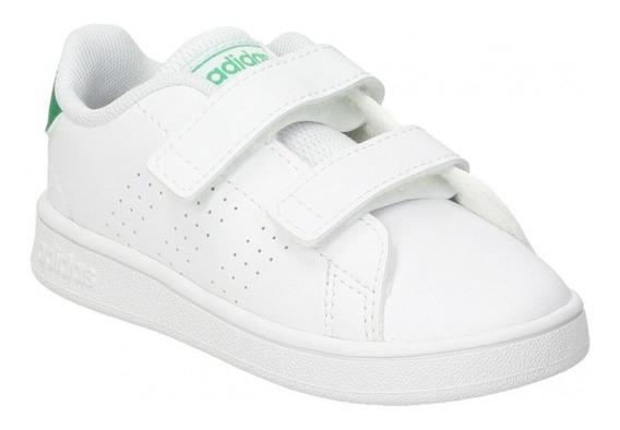 Tenis adidas Niño Blanco Verde Advantage I Ef0301
