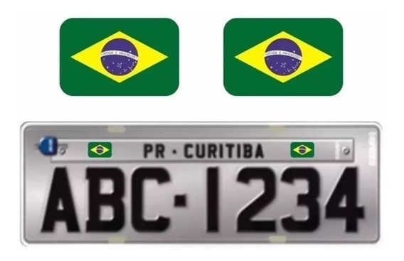 Par De Emblemas Adesivo Bandeira Brasil Para Placa Carro