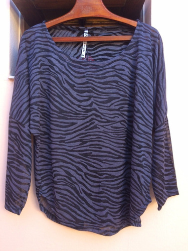 Remera Mujer Gris Poliester Elastizada Talle M