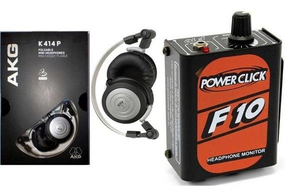 Fone De Ouvido Akg K414 + Amplificador Fones Power Click F10
