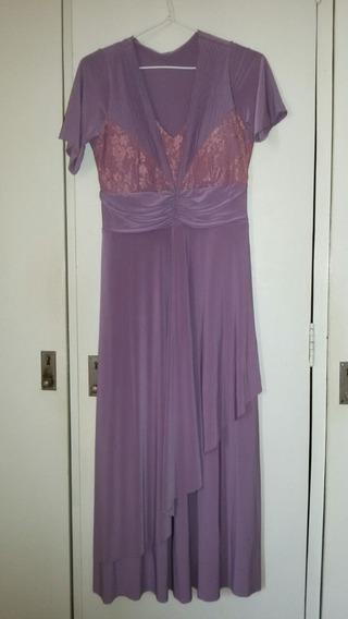 Vestido De Festa Rosa/lilás Com Renda E Forro - Tamanho Gg