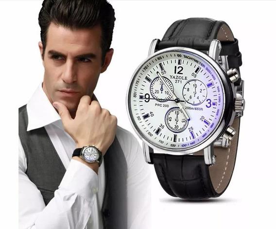 Relógio Masculino Yazole Pulso Social Branco Pulseira Preta