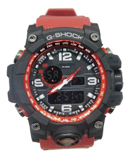 Relógio Masculino Vermelho Novo Anti Shock Digital + Caixa