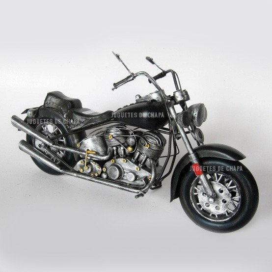 Moto Chopera 41cm Decoración Chapa Metal Colección Miniatura