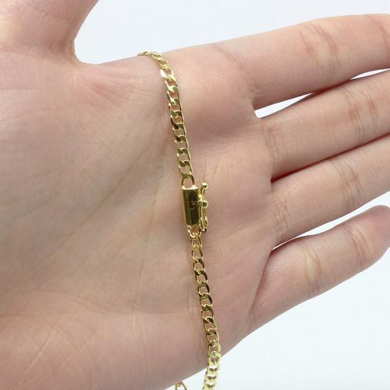 Pulseira Grumet 20cm C/ Fecho De Gaveta 3mm Banhada A Ouro 18k 20cm