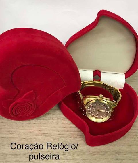 Estojo Porta Jóias De Relógio Bracelete -caixinha Coração
