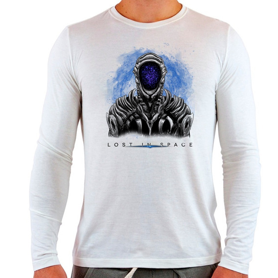 Camiseta Branca Longa Lost In Space Série Netflix