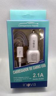 Carregador De Celular Veicular Inova V8 2.1a 2 Usb+ 1 C/usb