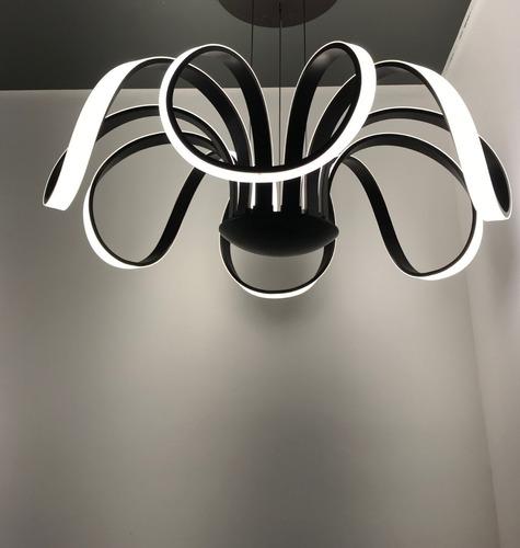 Lustre Pendente Led 72w Projeto Europa Design Flor Cor Preto Acrilico De Japao  Moderno Sala Estar Sala Jantar Quarto Nf | Mercado Livre