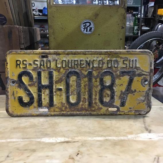 Placa Amarela Ferro Carro Antigo Decoração Ñ Medalha 390