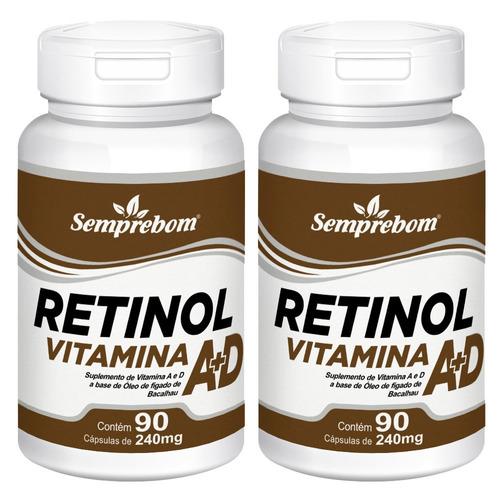 Imagem 1 de 3 de Retinol Vitamina A + D - Semprebom - 180 Caps - 240 Mg