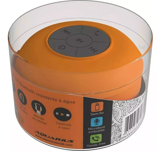 Caixa De Som Bluetooth Yep! Aquarius Mtc1120 Laranja 3w Usb