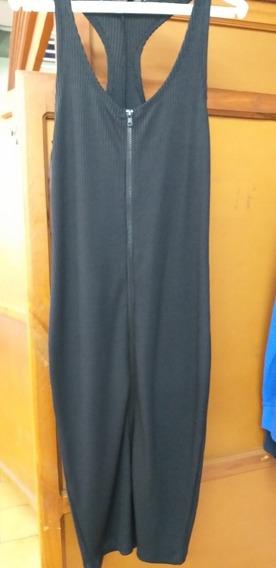 Vestido Negro Corto Zara Con Cierre Frontal Sin Mangas Nuevo