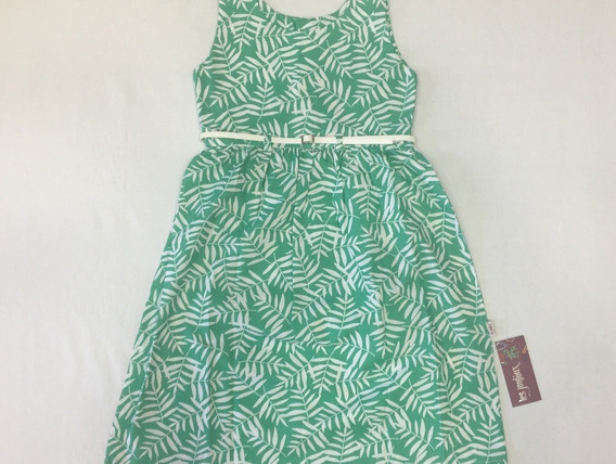 Vestido Algodón Verde Con Cintito
