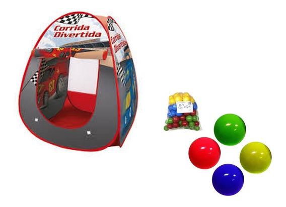 Barraca + 50 Bolinhas Corrida Carros Toca Meninos Brinquedo