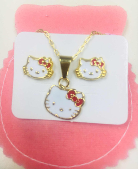 Conjunto Hello Kitty Bañado En Oro