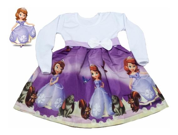 Princesinha Sofia Vestido Infantil Inverno Manga Longa Fab3
