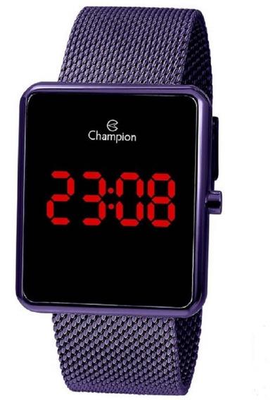Relógio Champion Unissex Digital Led Ch40080l Roxo Quadrado