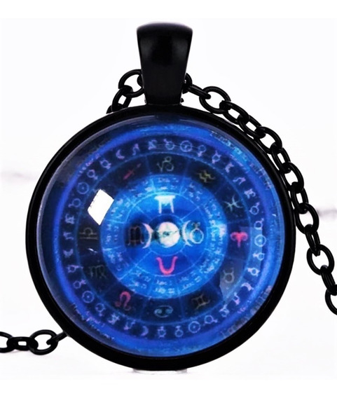 Colar Unissex Cabochão Místico Horóscopo Wicca Deusas Força