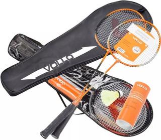 Kit Badminton Vollo 4 Raquetes, 6 Petecas, Bolsa-raqueteira