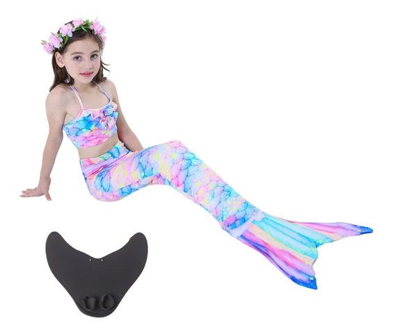 Sirena Cola Y Bikini Niñas Traje De Baño Con Monoaleta Set 4