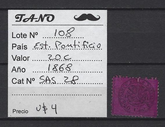 Lote108 Italia 20c Año 1868 Sassone#28 Est. Pontificio