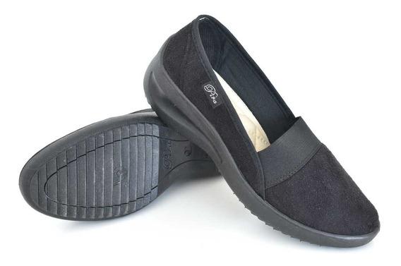 Zapato Liviano Elástico Plantilla Anatomica Pana Negro Pira