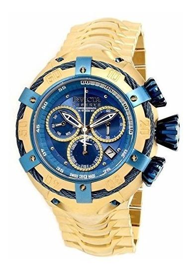 Invicta Bolt Mostrador Azul Plaque Ouro Ref 21347 Original