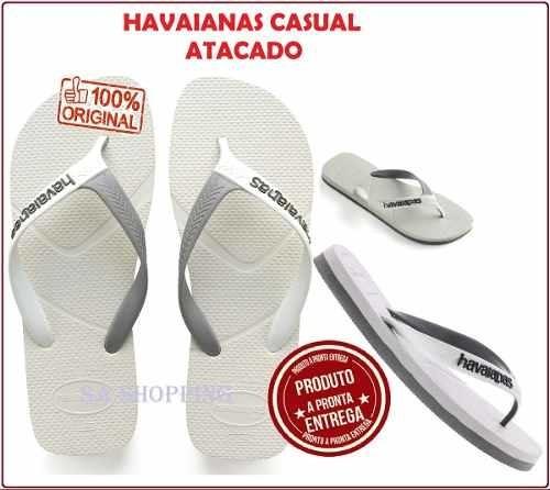 Chinelo Havaianas Casual Branc/cinz Original Pronta Entrega
