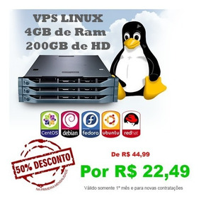 Servidor Vps Xeon 3.4ghz 4gb Ram 200gb Hdd - Linux