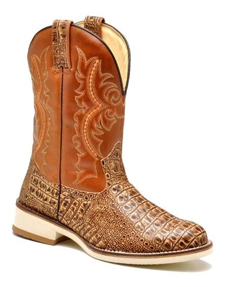 Bota Masculina Country Texana Sola Branca Roper Croco