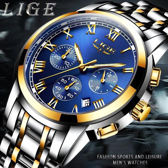 Relógio Luxo Lige Origina Detalhes Dourado + Caixa Original