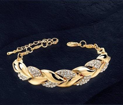 Pulseira Feminina Bracelete Dourada Strass Zircônia