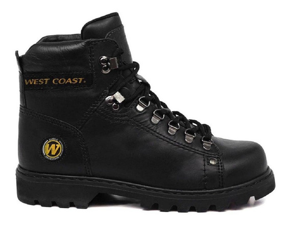 Bota Coturno Worker West Coast Adventure Couro Preto