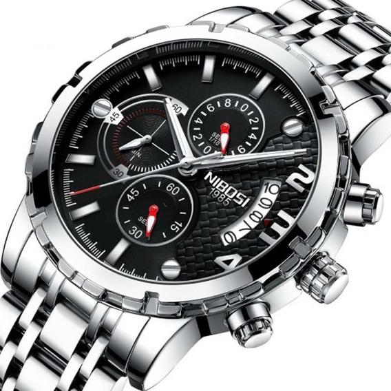 Relógio Masculino Nibosi 2356 Prata Esporte Casual Original