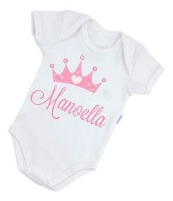 Body Bebê Poliéster Personalizado Princesa Coroa B296brp
