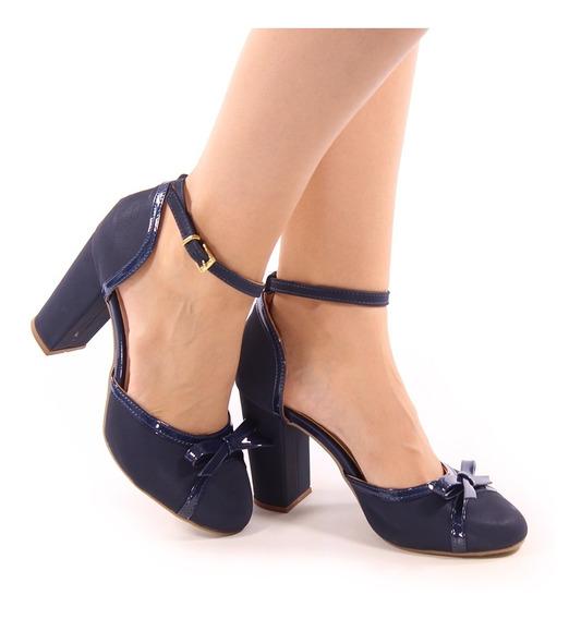 Sapato Scarpin Boneca Fechado Salto Grosso Bloco Medio