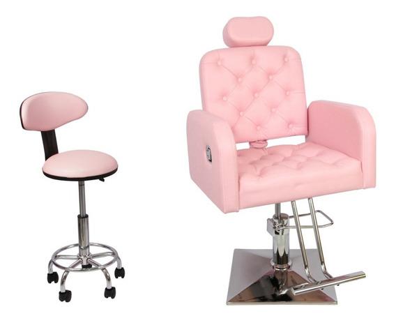 Poltrona Cadeira Botão Reclinável Salão Beleza+mocho+lombar
