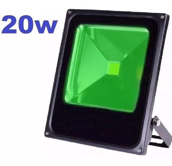 Refletor De Led Smd Holofote 20w Bivolt Luz Verde Ip66