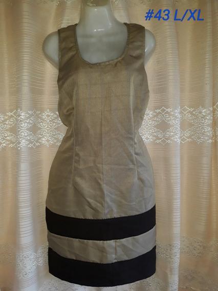 Vestido Color Arena Con Negro (#43) Talla L/xl